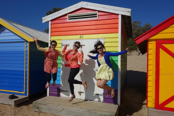 The Purnama sisters at one of the most iconic Melbourne places: Brighton Beach.