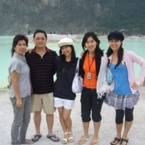 My Chinese Indonesian family of five at Kawah Putih, Bandung, Indonesia.